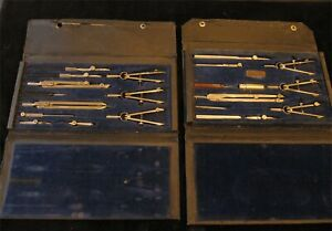 Charvoz drafting compass sets. Two sets nearly identical with cases $39.50