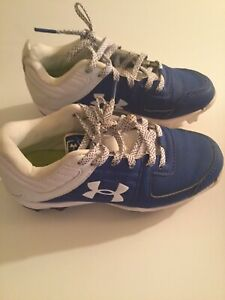 Under Armour shoes Size 13K baseball softball cleats boys blue white athletic $25.99