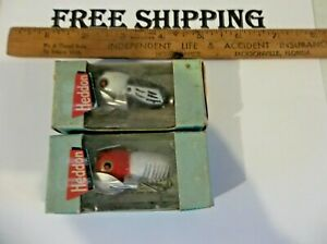 2 Vintage Fishing Lure Heddon Tiny Crazy Crawler Great Colors Nice Old Bait LOT
