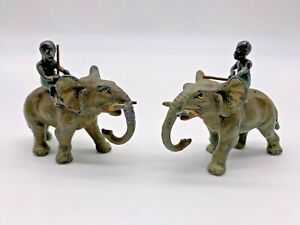 Two Antique Cold Painted Metal Miniature Elephant Figurines with Riders $175.00