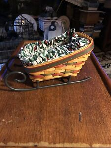 Longaberger 1998 Christmas sleigh basket with plastic and fabric liner 5quot; by 8quot; $24.99