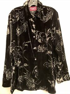 Denim Co Black and White Floral Print Velour Tunic Shirt Small Button up Front $12.99