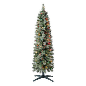 Home Heritage 5 Ft Stanley Cashmere Christmas Tree w Incandescent Multi Lights