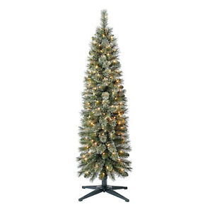 Home Heritage 5 Ft Pre Lit Stanley Cashmere Pencil Pine Christmas Tree w Lights