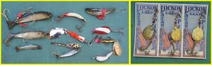 LOT A 14 VINTAGE LURES BEAR VALLEY CARDED LUHR MORE jk