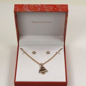 Charter Club Gold Tone Crystal Imitation Pearl Tree Necklace Star Earrings $9.95