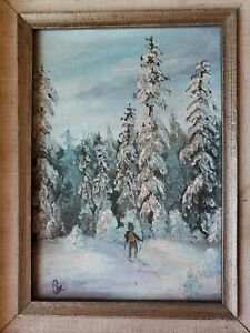 Small Vintage Painting Oil?on board Woods In The Winter Skier signed $45.00