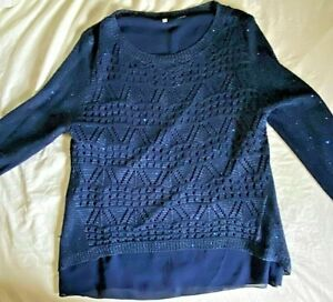 Beautiful Navy Blue Sequined Knit Sweater by Milano Size Large $15.00