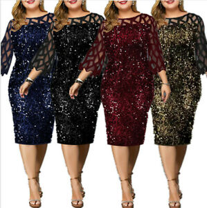 Plus Size Women Party Sequin Dress Sexy Mesh Sleeve Wedding Evening Party Dress $30.99
