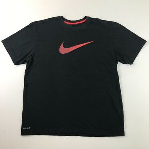 Nike Dry Fit Shirt Adult XL Extra Large Black Red Swoosh Mens E2 33 $13.99