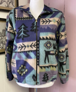 Fleece Tribal Tree Print Print Teddy Button Front Jacket Size Small Camping