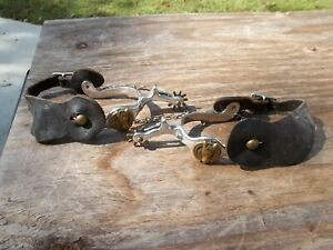 Pair of Riding Cowboy Spurs with Brass Horse Heads Western Wear