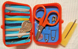 Vintage Travel Sewing Kit On Tour Red Plastic Box collectible handy thread $4.99