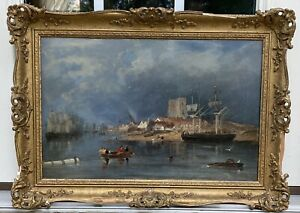 Antique Oil Painting On Board Seascape Boat Ships in Bay Harbor $850.00