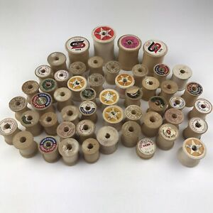 Vintage Wood Wooden Sewing Thread Spools Lot of 50 Empty Various Sizes $20.09