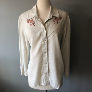 AMO Womens Cream Solid Long Sleeve Western Button Down Embroidered Shirt Large $80.00