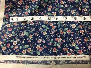 Cotton fabric by the yard sewing quilting Joan Kessler Concord 6 yds blue floral $75.00