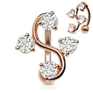 Surgical Steel Belly Button Piercing Rose Gold Grapevine with Zirconia $19.52