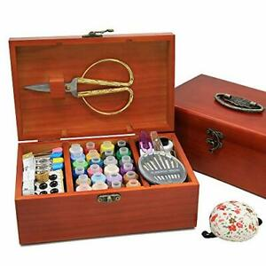 Wooden Sewing Basket with Accesssories Sewing kit Compartments 8.5 x 5.3 x 3Inc $50.17