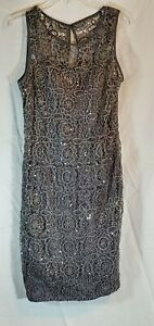 Adrianna Papell Gray Lace Overlay Fitted Cocktail Formal Evening Dress Size 12 $24.90