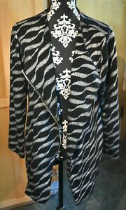 Chico#x27;s TRAVELERS Long Sleeve Zip Front Cardigan Sz 2 12 Black Silver Angle $19.99
