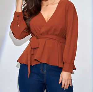 Casual Plus Size Wrap V Neck Long Sleeve Belted Peplum Blouse Top Tee Women