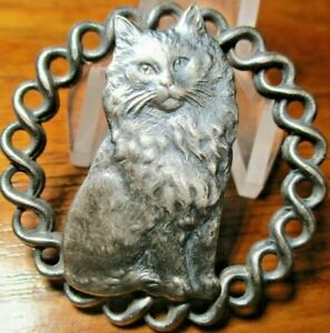 Antique from France quot;PERSIAN CAT TWISTED PIECED RIMquot; Vintage Metal Button $109.00