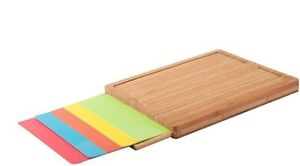 Bamboo wood plastic cutting boards 6 pc set prevent cross contamination 16 $40.00