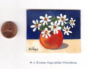 White Flowers in a Red Vase Original Painting * Miniature * Art in Watercolor $7.50