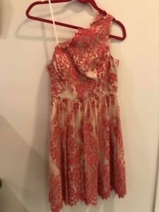 Adrianna Papell One Shoulder Nude Peach Lace Dress Formal Tea Party Sz 4 Lined $24.99