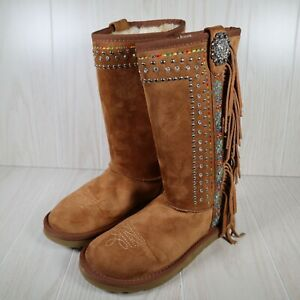 Montana West Womens Winter Faux Fur Lined Fringe Beaded Boots Size 8 $29.99