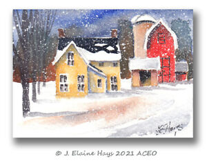Winter Farmhouse and Barns ACEO Original Painting Small Size Rural America $9.50