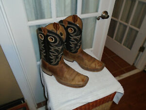 JUSTIN BR740 MEN#x27;S CADDO BENT RAIL 11quot; TOBACCO COWHIDE size 11.5 EE SQUARE TOE