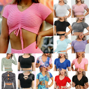 Women#x27;s Yoga Gym Hollow Out Shirt Nice Back Sexy Sports Sleeve Topsamp;Vest Tops AU