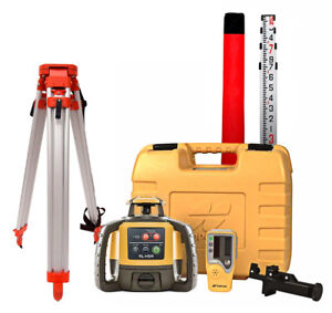Topcon RL H5A Self Leveling Rotary Grade Laser Level W tripod and 14#x27; Rod Inches