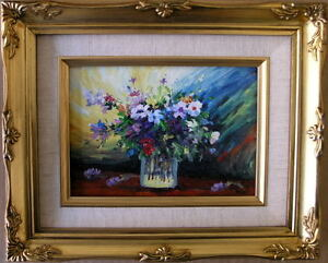 Framed Oil Painting quot;Beautiful Flowers in a glassquot; 9x11 inches $29.95