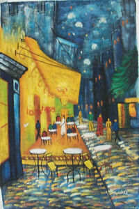 Hand painted amp; signed restaurant setting art OIL PAINTING ON CANVAS 24quot; X 36quot; $80.00