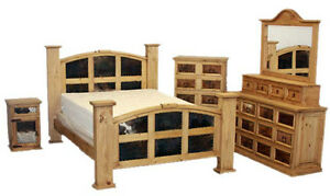 Honey Rustic Bedroom Set Real Wood Real Cowhide King Queen Western Cabin Lodge