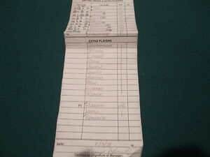 New YORK Yankees rare game used line up card Lowell