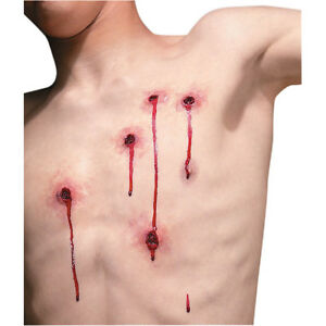 5 BULLET HOLE WOUNDS REEL FX LATEX WOUND SCAR PROSTHETIC SPECIAL EFFECT MAKEUP