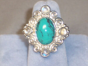 SAJEN STERLING SILVER TURQUOISE & MOONSTONE RING - SIZE 5 VINTAGE BUT NEVER WORN