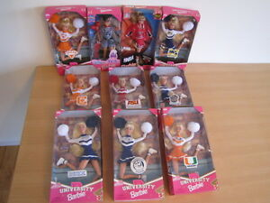 UNIVERSITY CHEERLEADER BARBIE COLLECTION 10 DOLLS NEW IN BOX- MINT CONDITION