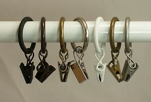 Urbanest 10PK Metal Curtain Drapery Rings w/ Clips & Eyelets,Fits up to 3/4