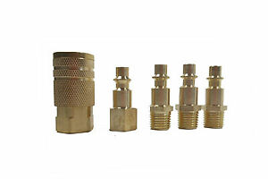 5 Pc 1 4quot; NPT Brass Air Couplers With Adapter Quick Disconnect Air Hose Fittings