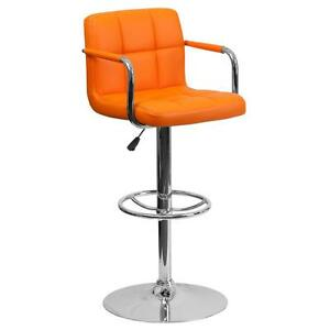 Orange Quilted Vinyl Adjustable Height Bar Stool with Arms & Chrome Base