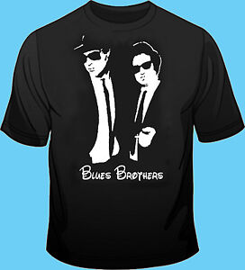 Long or Short Sleeve Black T Shirt Movie TV Cinema Blues Brothers Silhoutte