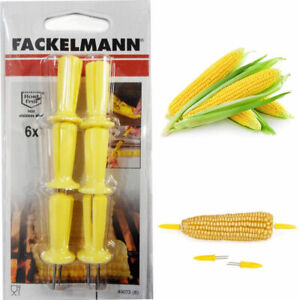 6 Corn On Cob Skewers Prong Prick Holders Set Sticks Sweetcorn BBQ Fork Party