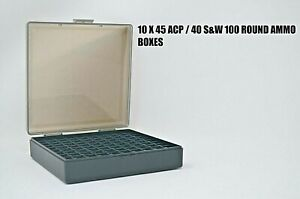 45  40  10mm (10 PACK) Ammo cases  boxes SMOKE 1000 rnds of storage 45 ACP