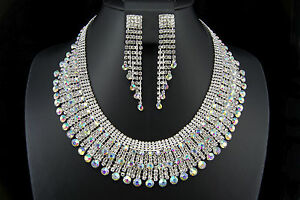 Bridal Wedding Prom Crystal Rhinestone Necklace Chandelier earring set Jewelry