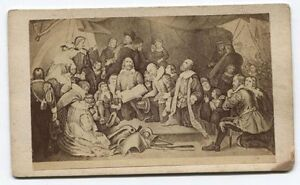 ANTIQUE CDV PHOTO OF LITHOGRAPHIC OF PAINTING SPANISH CONQUISTADORS. $24.84